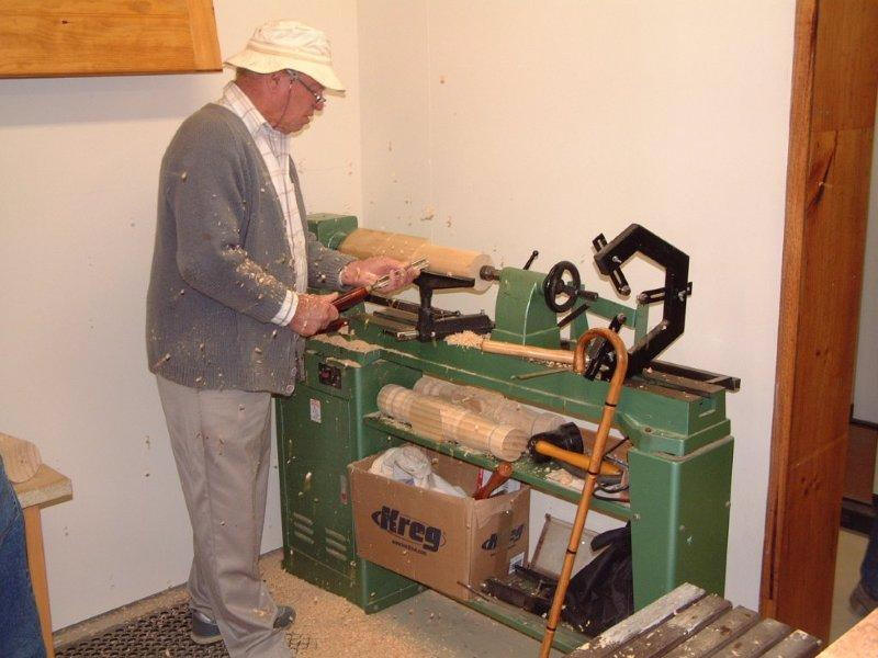 working with wood lathe